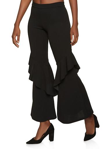 Ruffle Detail Flared Pants,BLACK,large