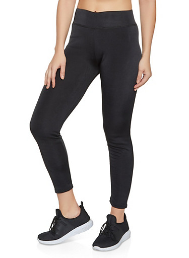 Faux Fur Lined Active Leggings,BLACK,large