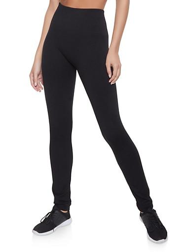 Basic Fleece Lined Leggings,BLACK,large