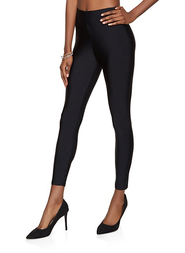 Solid Spandex Leggings,BLACK,large