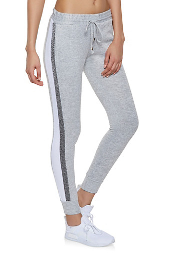 Shimmer Tape Joggers,HEATHER,large