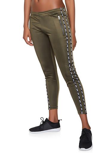Love Graphic Trim Track Pants,OLIVE,large
