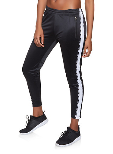 White Side Stripe Track Pants,BLACK,large