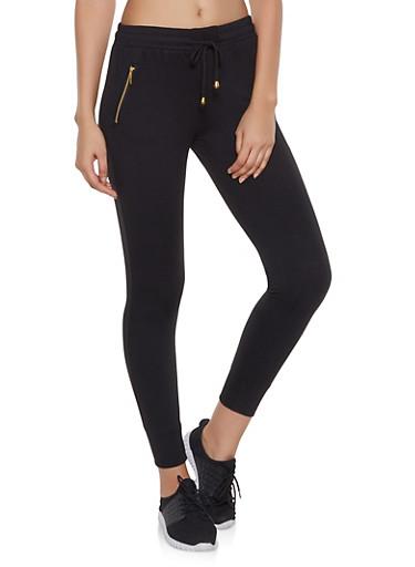 Fleece Lined Activewear Joggers,BLACK,large