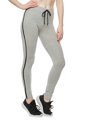 Cotton Varsity Stripe Leggings,HEATHER,large