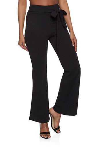 Tie Front Solid Crepe Flared Pants,BLACK,large
