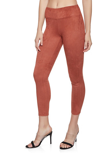 Faux Suede Pull On Pants,RUST,large