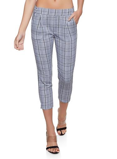 Plaid Fixed Cuff Dress Pants,BLACK/WHITE,large