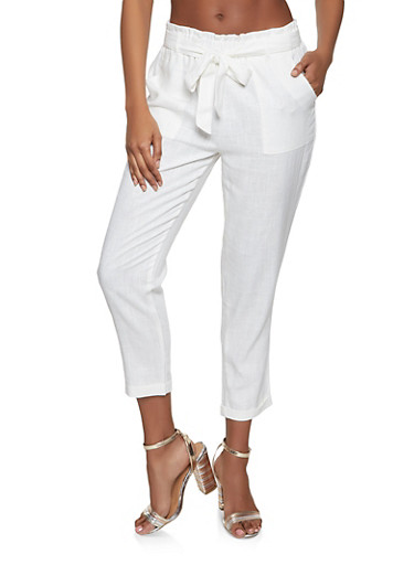 Linen Paper Bag Waist Trousers,WHITE,large
