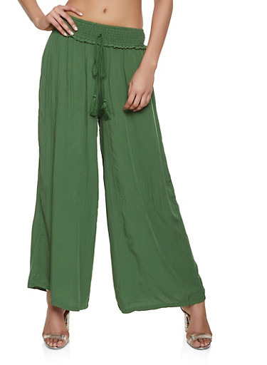 Smocked Waist Palazzo Pants,GREEN,large