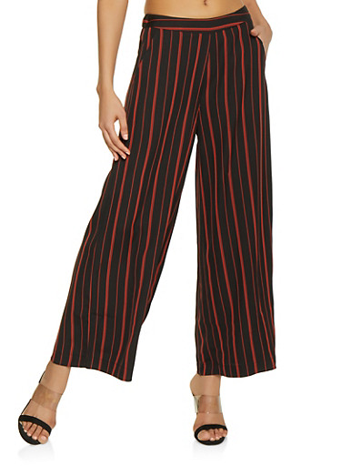 Pull On Striped Palazzo Pants,BLACK,large