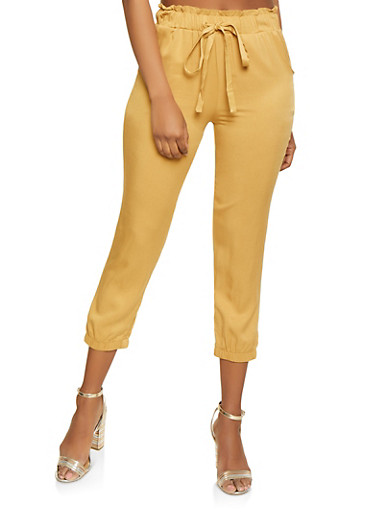 Paper Bag Waist Joggers,MUSTARD,large