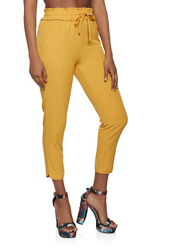 Smocked Waist Casual Pants,MUSTARD,large