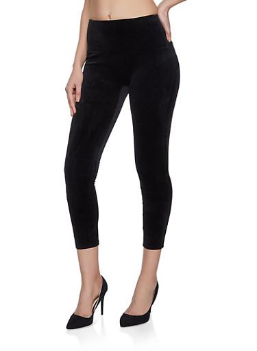 Solid Velvet Leggings,BLACK,large