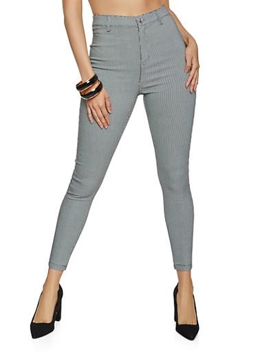 Plaid High Waisted Pants,BLACK/WHITE,large