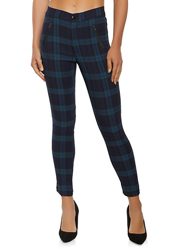 Plaid Zipper Detail Pants,GREEN,large
