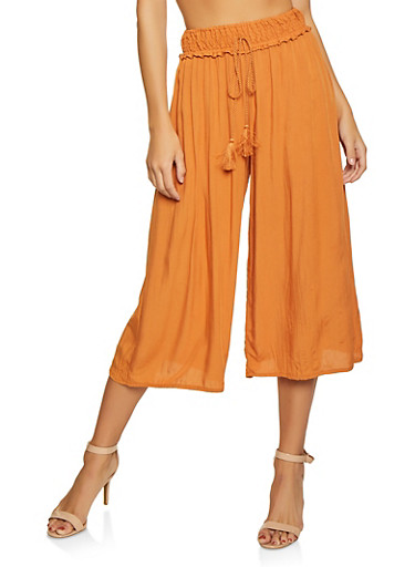 Smocked Waist Crinkle Knit Gaucho Pants,ORANGE,large