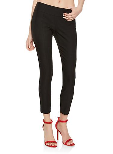 Pintuck Skinny Ankle Pants,BLACK,large