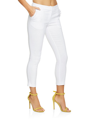 Solid Stretch Pants with Pockets,WHITE,large