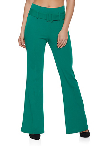 Crepe Knit Pintuck Flared Pants,KELLY GREEN,large