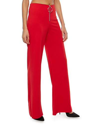 Crepe Knit Front Zip Palazzo Pants,RED,large