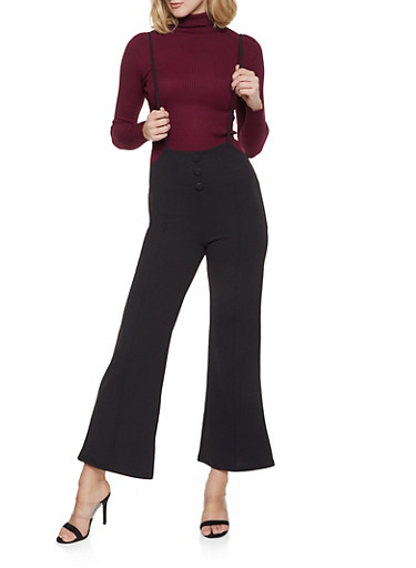 Wide Leg Suspender Pants,BLACK,large