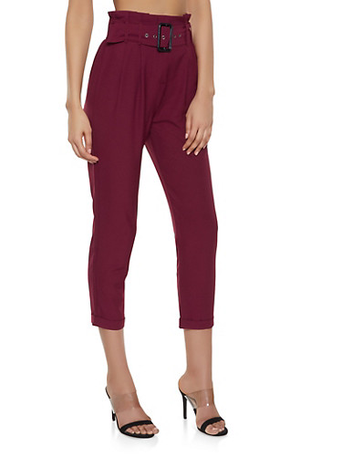 Belted Paper Bag Waist Trousers,WINE,large