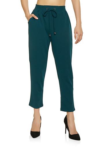 Drawstring Waist Crepe Knit Dress Pants,GREEN,large
