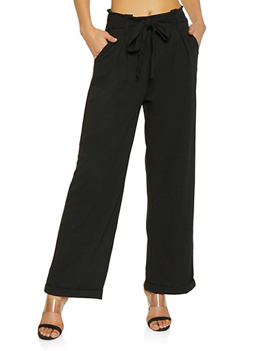 Cuffed Crepe Knit Palazzo Pants,BLACK,large