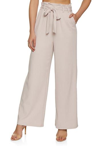 Tie Paper Bag Waist Wide Leg Pants,BEIGE,large