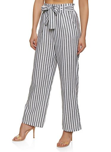 Striped Tie Front Wide Leg Pants,BLACK,large