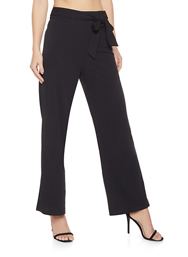Tie Front Crepe Knit Palazzo Pants,BLACK,large
