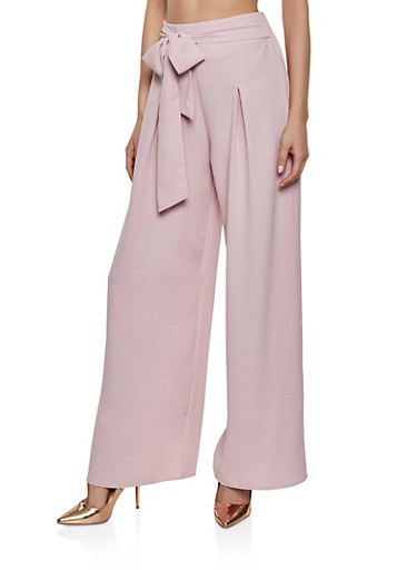 Pleated Tie Front Palazzo Pants,MAUVE,large