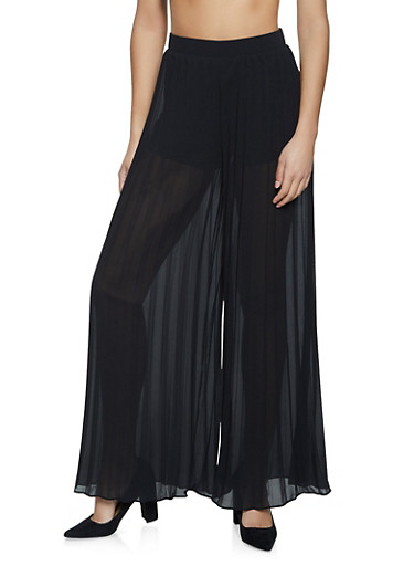 Pleated Zip Back Palazzo Pants,BLACK,large