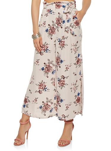 Floral Paper Bag Waist Palazzo Pants | Tuggl