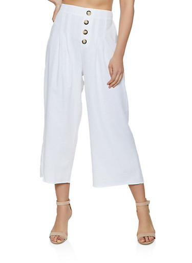 Button Detail Cropped Gaucho Pants,IVORY,large