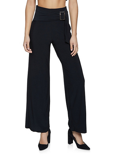 Buckle Waist Palazzo Pants,BLACK,large