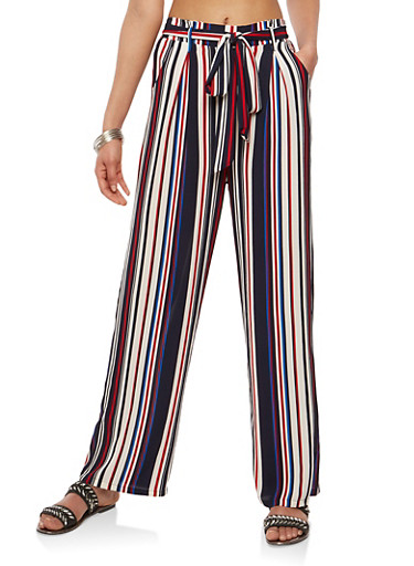 Striped Tie Front Casual Pants,NAVY,large