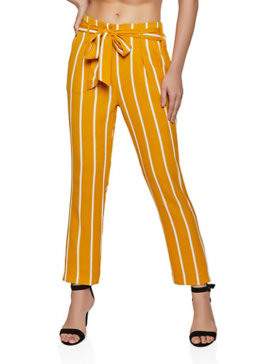 Striped Crepe Knit Tie Front Pants,MUSTARD,large