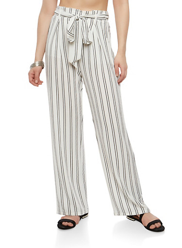 Striped Tie Front Palazzo Pants,WHITE,large