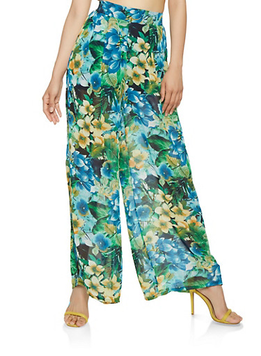 Sheer Floral Palazzo Pants,GREEN,large