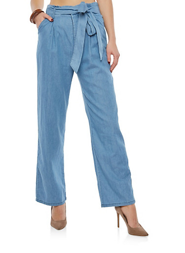High Waisted Belted Chambray Palazzo Pants,BLUE,large