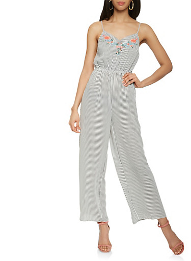 Embroidered Striped Wide Leg Jumpsuit,BLACK/WHITE,large