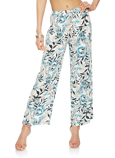 Tropical Print Palazzo Pants,WHITE,large