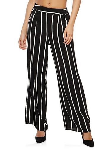 Striped Crepe Knit Palazzo Pants,BLACK/WHITE,large