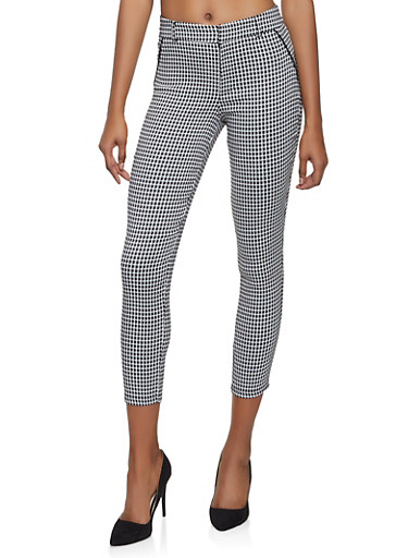 Houndstooth Cropped Dress Pants,BLACK/WHITE,large