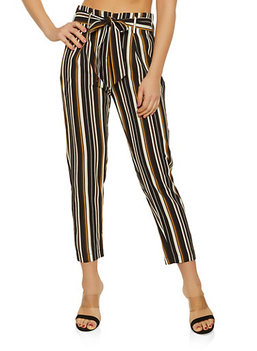 Striped Tie Front Crepe Knit Pants,MUSTARD,large