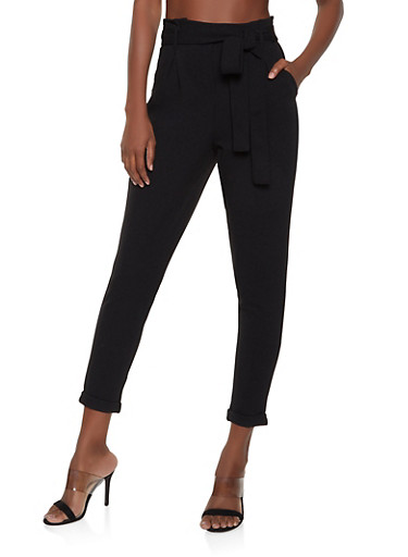Fixed Cuff Tie Waist Trousers,BLACK,large