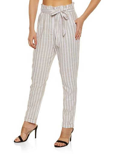 Striped Linen Paper Bag Waist Pants by Rainbow