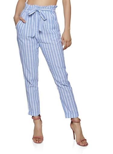 Striped Linen Paper Bag Waist Pants,BLUE,large